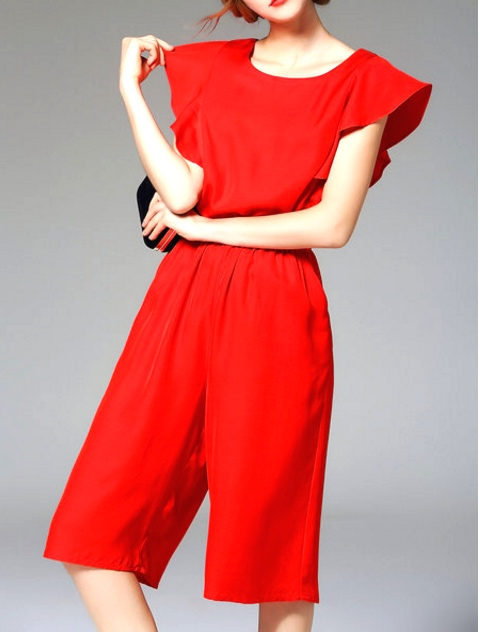 Red vintage look shorts jumpsuit