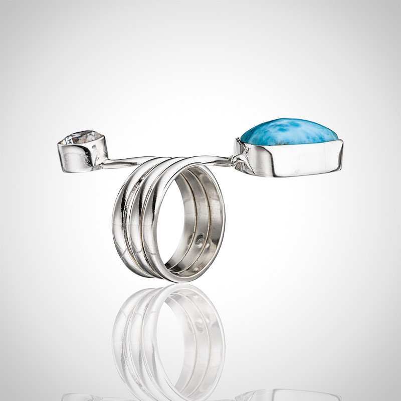 Larimar Ring - Apart Bypass With Zirconia