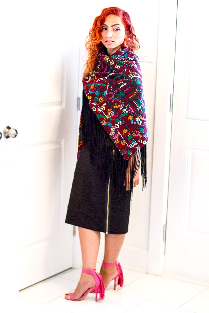 Embroidered colourful shawl