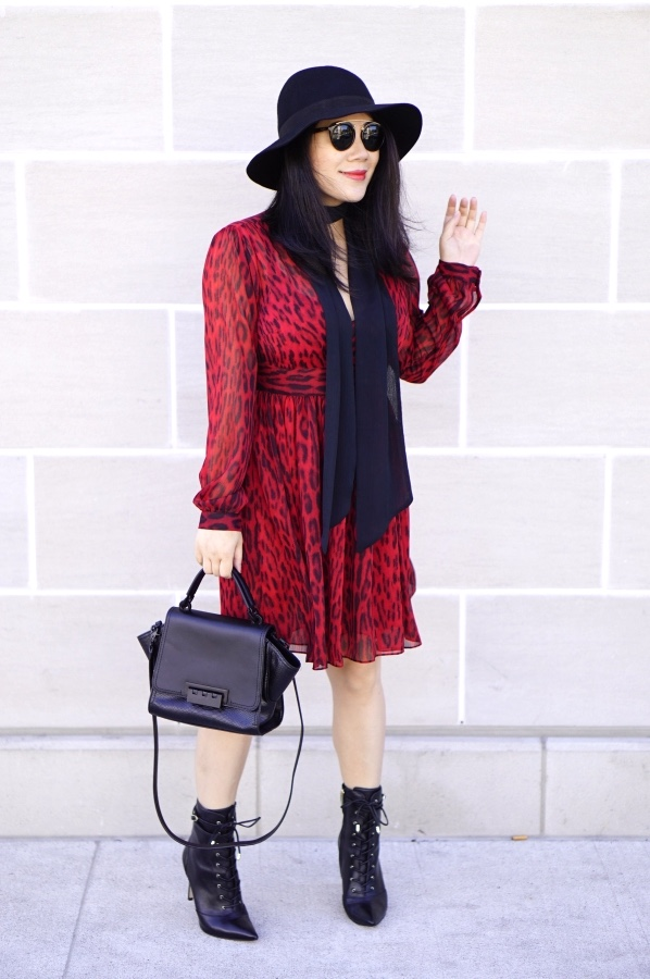 grace-in-a-red-leopard-dress-with-black-lace-up-booties-hat-and-purse