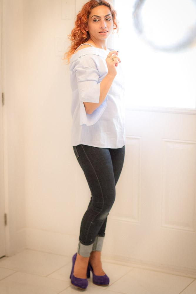 Off-the-shoulder-striped-blouse