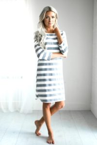 striped-knee-length-conservative-dress