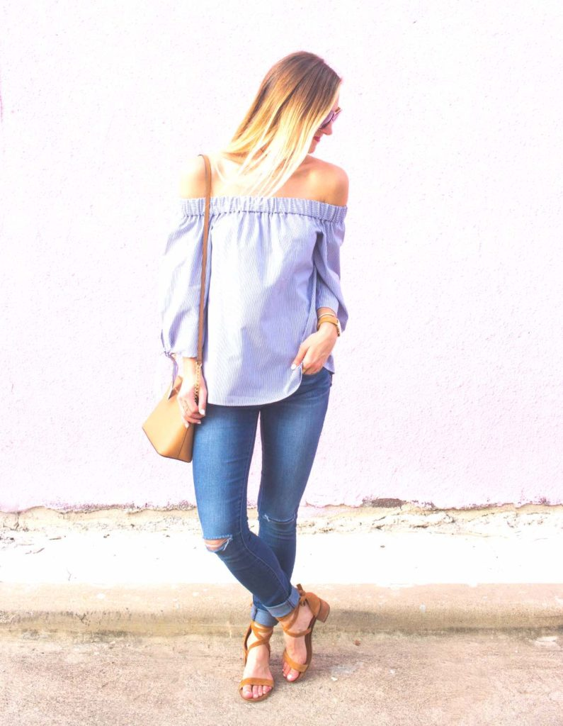 livvy-land-blog-olivia-watson-austin-texas-articles-of-society-distressed-skinny-jeans-topshop-off-shoulder-tie-sleeves-striped-top