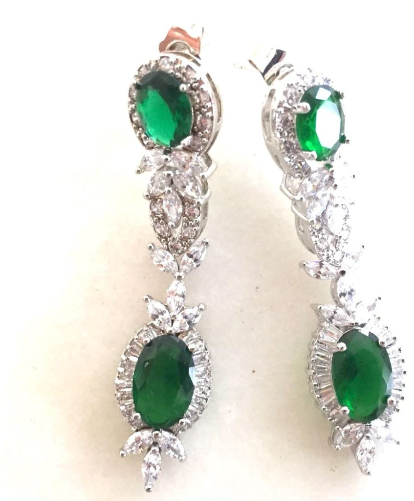 Emerald and cubic zirconium earrings