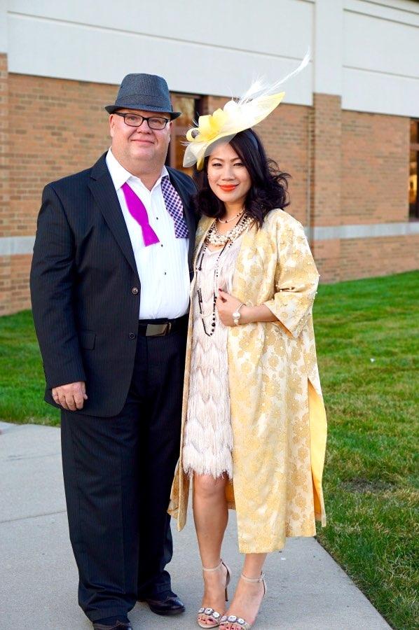 Yellow jacquard kimono with fringe dress and hat