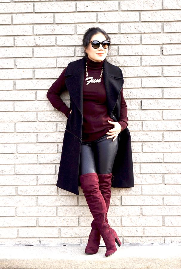 Black and burgundy outfit with over the knee burgundy boots