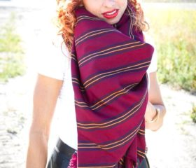 DIY No Sew Oversized Blanket Scarf in Under an Hour