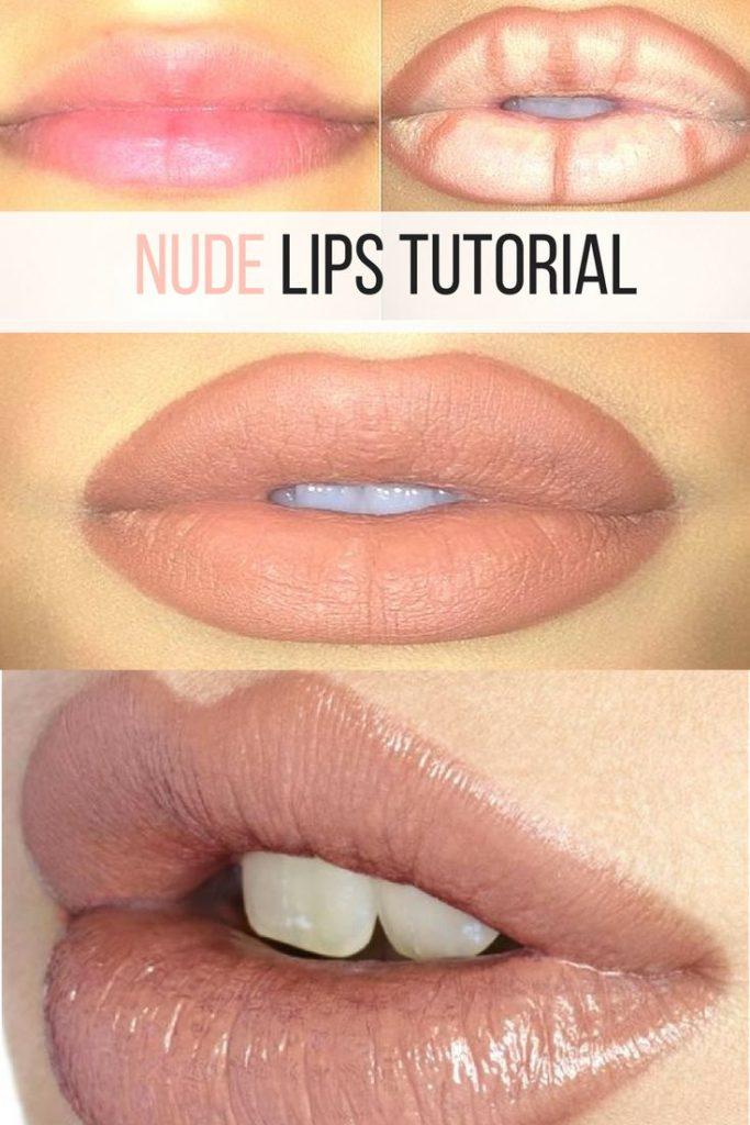 Nude lips tutorial, makeup products, nude lipstick, makeup tutorial, makeup hack