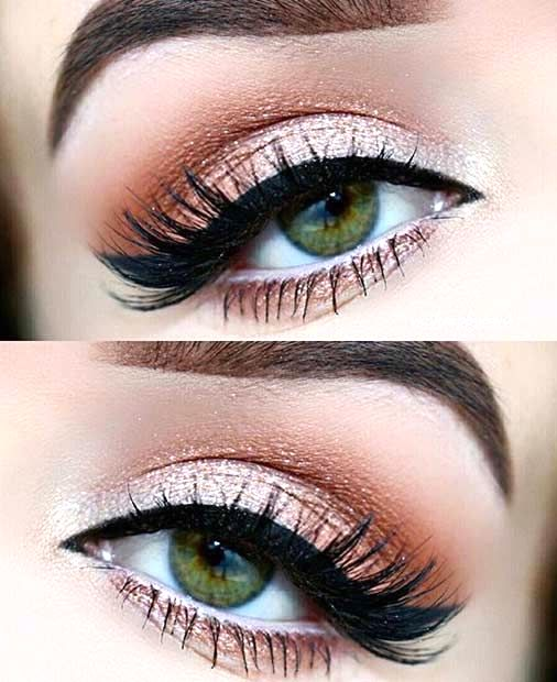 Peaches and Cream eyeshadow, eye makeup look with makeup products list, winged eyeliner tutorial