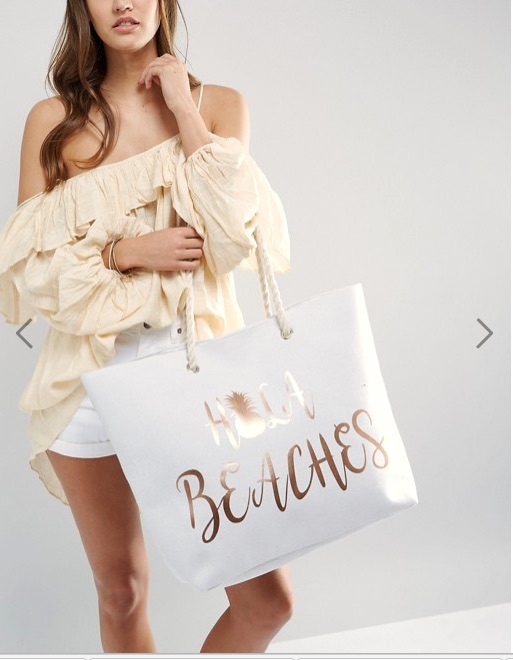 Hola Beach white tote, ruffled top, shorts