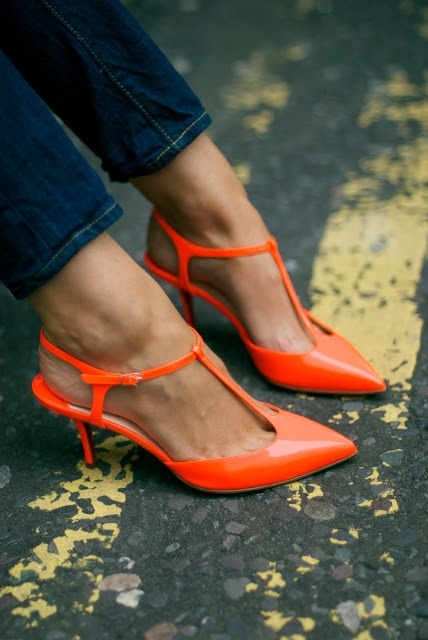 Orange T strap kitten heels, jeans