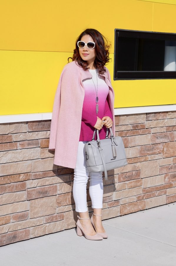Pink coat with white jeans, fuchsia sweater and nude pumps