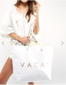 Vacay beach tote white with white outfits
