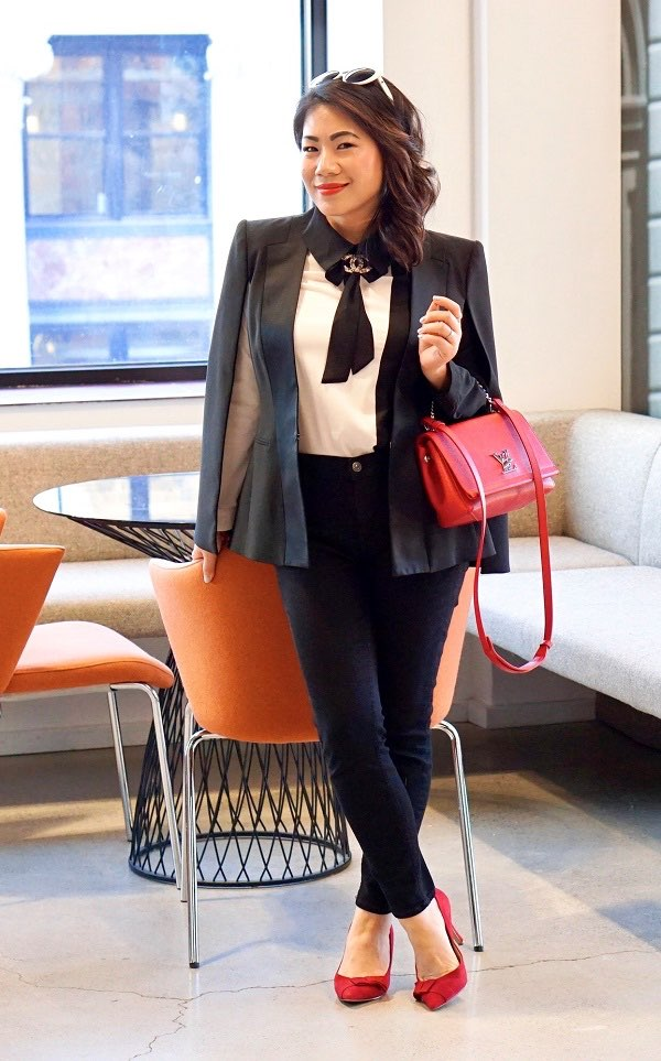 White dress shirt, scout collar, peplum leather jacket, black pants, red shoes, red purse