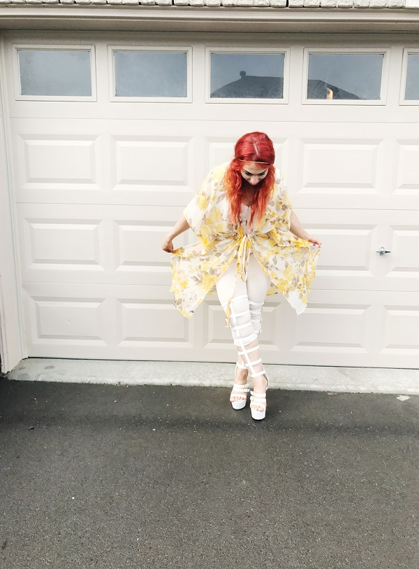 Yellow floral kimono, gladiator boots, White gladriator sandals, summer outfit