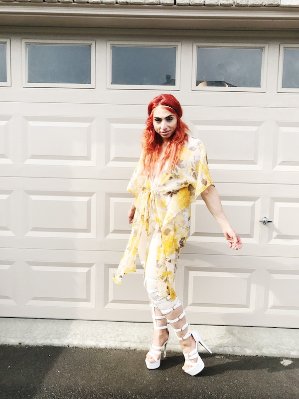 Yellow floral kimono, gladiator boots, White gladiators, summer outfit