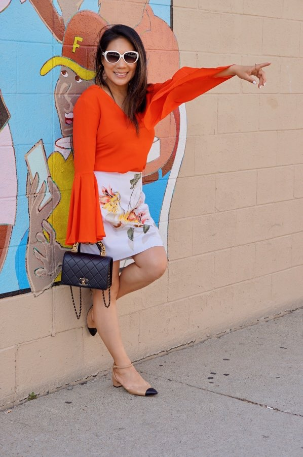 Edgy fashion style, Orange top, white skirt, Women's fashion style, Fashion outfits, Fashion style tips, Boho fashion style