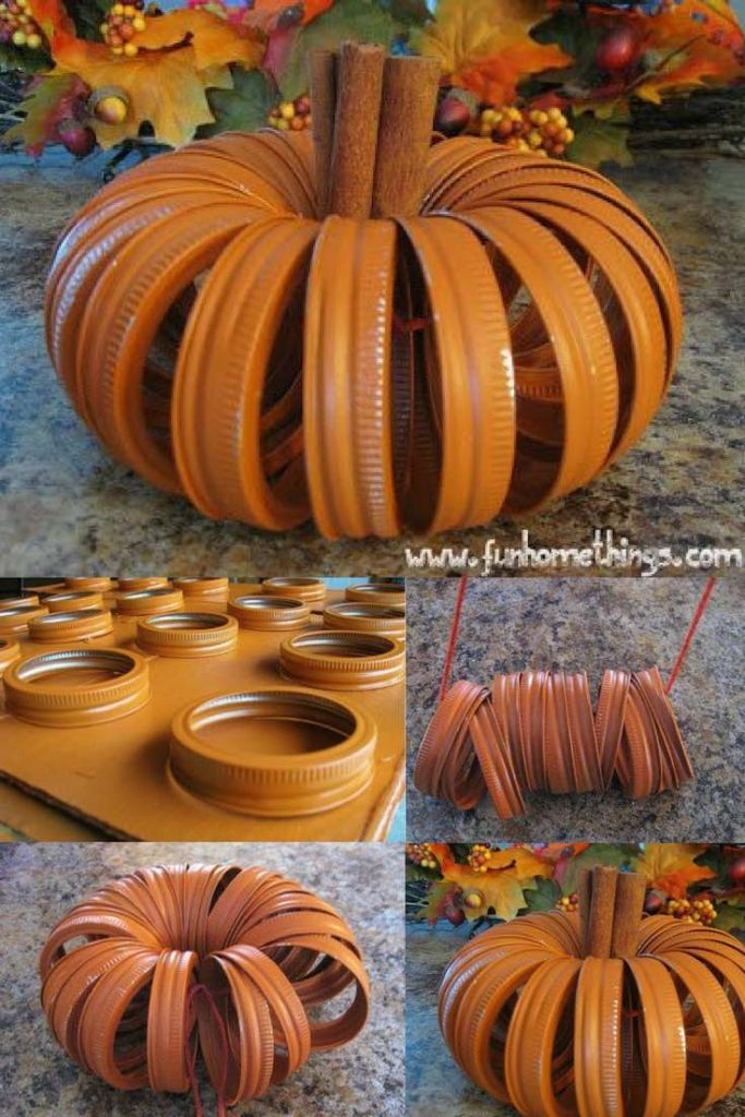 Thanksgiving decoration, DIY Thanksgiving decoration table, Thanksgiving decoration ideas, Pumpkin mason jar lids