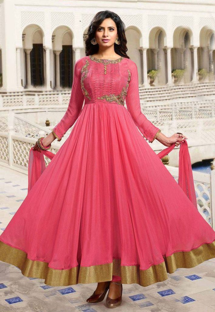 Hot pink gold anarkali, Anarkali suits, Simple anarkali, Bridal anarkali, Bridesmaid anarkali, Anarkali dress, Lehenga anarkali, Wedding anarkali, Jacket anarkali