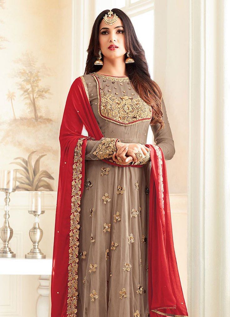 Red taupe anarkali, Anarkali suits, Simple anarkali, Bridal anarkali, Bridesmaid anarkali, Anarkali dress, Lehenga anarkali, Wedding anarkali, Jacket anarkali