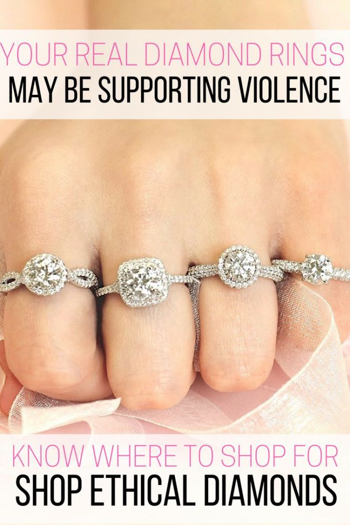 Diamond rings of different cuts on woman's hand, real diamond rings