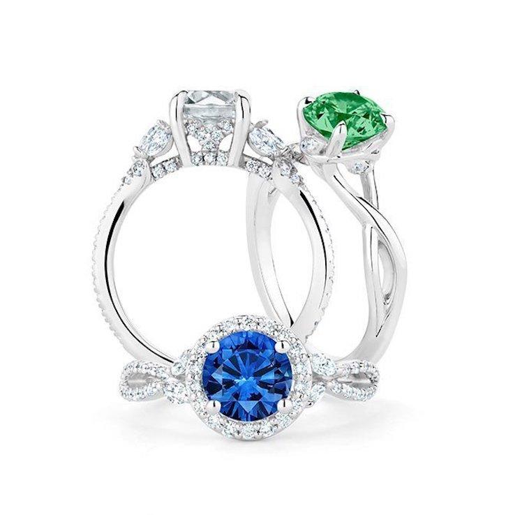 Sapphire and emerald diamond rings