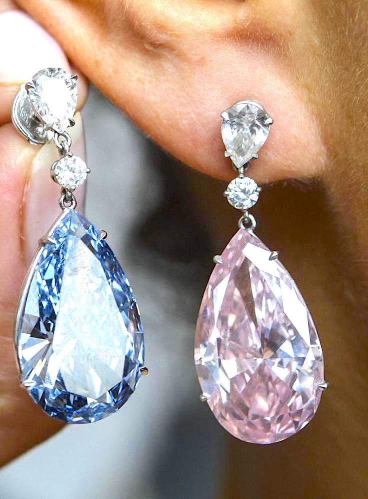 Tear drop pink and blue diamond earrings