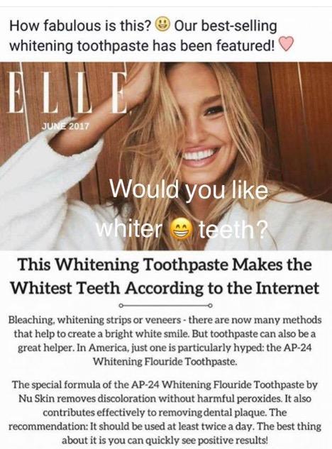 Elle magazine AP24 toothpaste testimonial