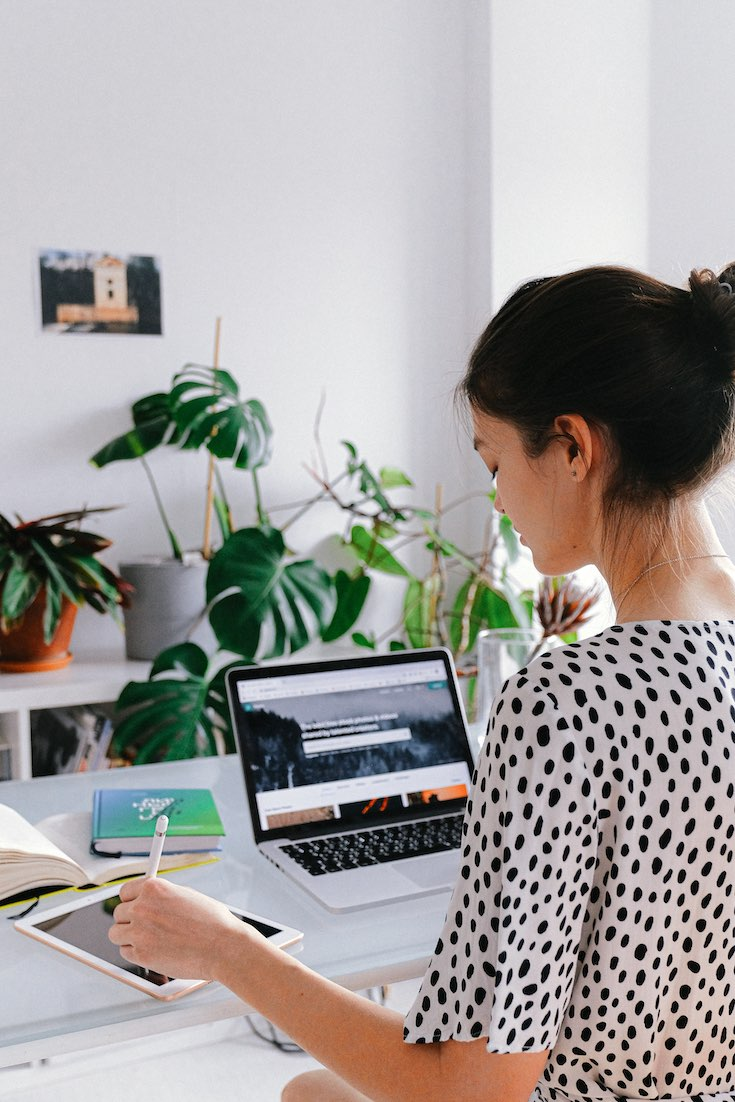 woman working from home in modern interior