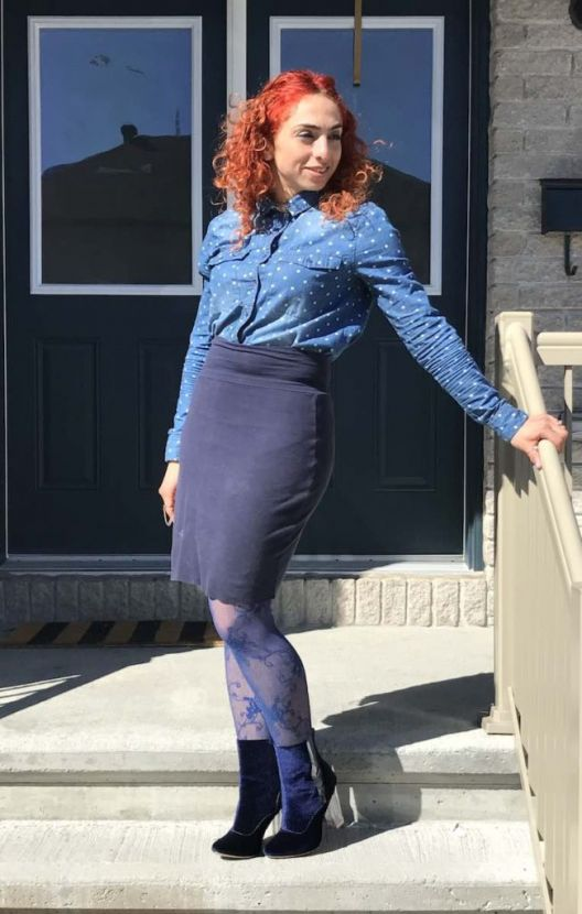 Mothers day gift, denim polka dot shirt, velvet royal blue booties with clear panels, floral fishnet stockings, navy jersey knit skirt