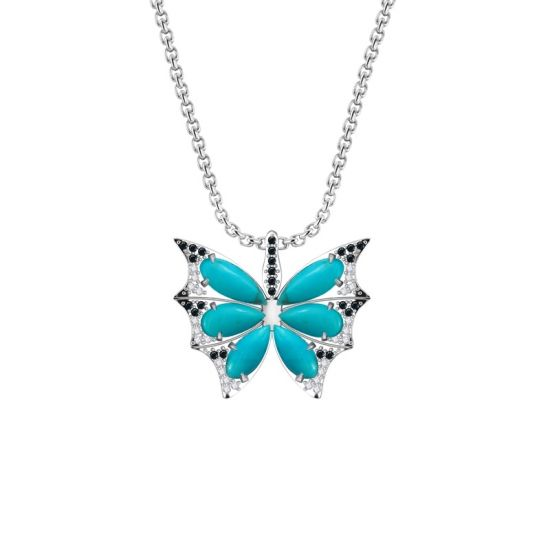 Black butterfly necklace, Turquoise butterfly necklace, wedding jewellery, sterling silver necklace