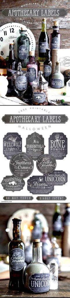 Apothecary Halloween bottle labels
