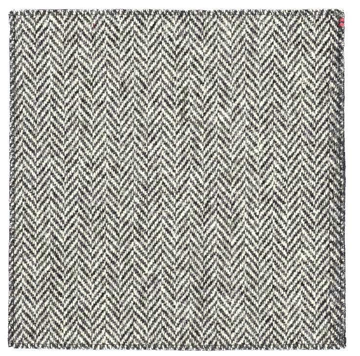 Black & white herringbone tweed pocket square