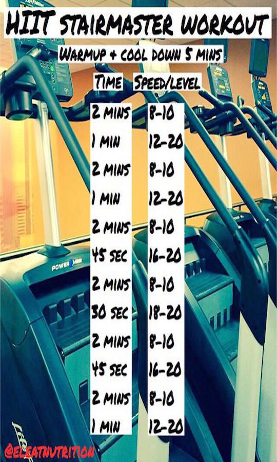 HIIT stairmaster - part of fitness model workout