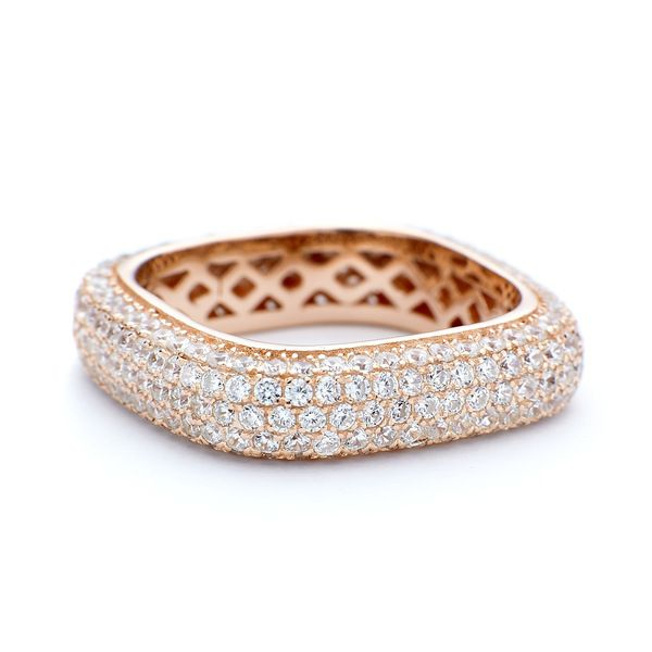 Rose gold square ring with crystals