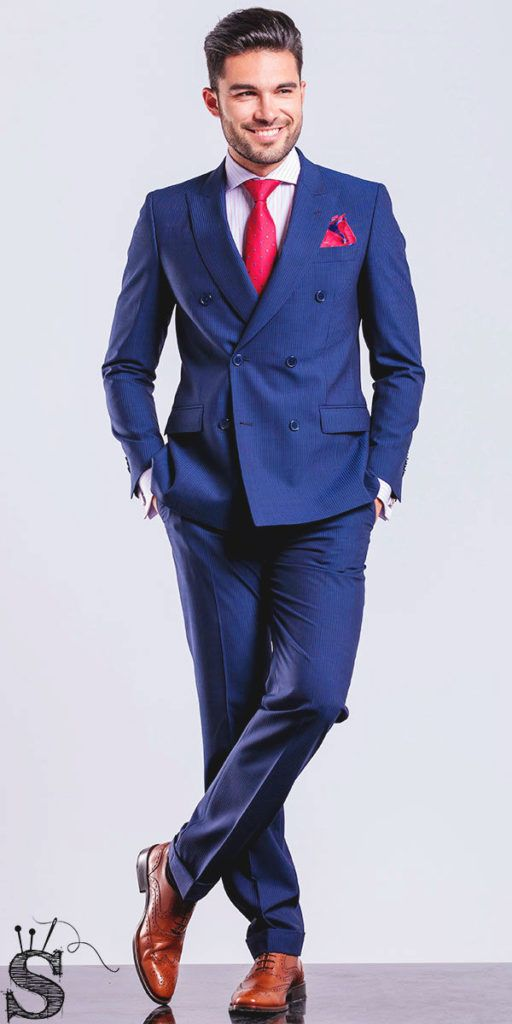 Men's royal blue suit, red tie, red pockets square, Mens custom suits, customized suits, affordable suits