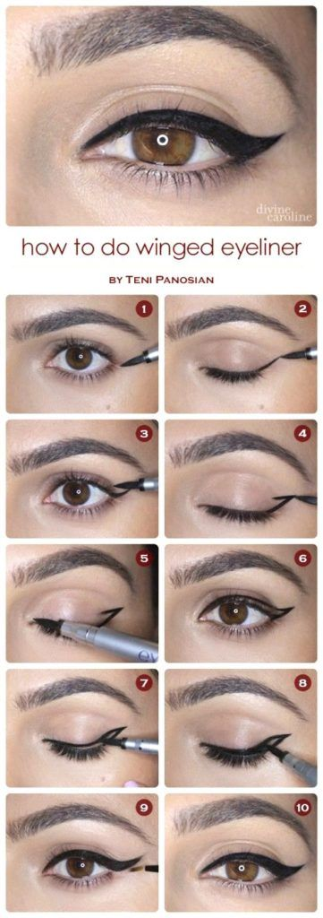 Step by step winged eyeliner application