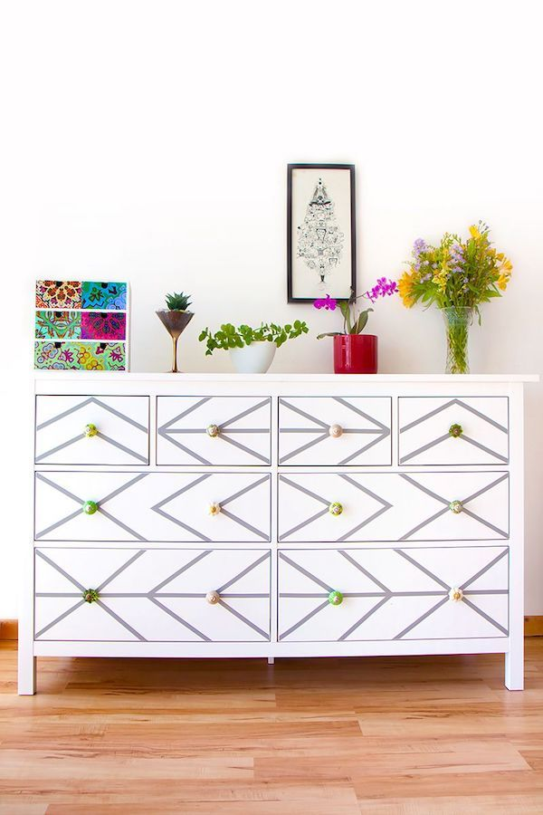 DIY contact paper dresser, Geometric contact paper, Adhesive contact paper