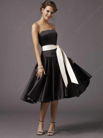 A-line strapless knee-length black and white dress