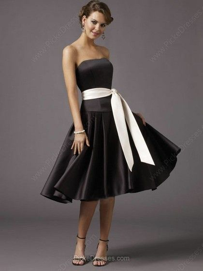 A-line strapless knee-length black and white dress