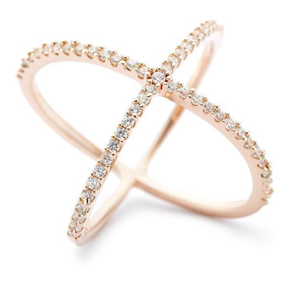 Atomic CZ ring in rose gold