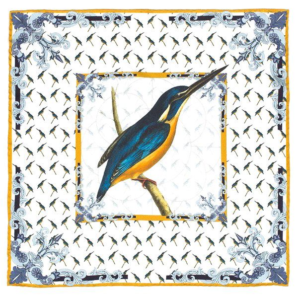 Silk Kingfisher Swainson pocket square