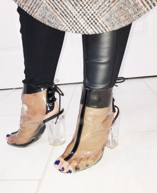 Mothers day gift, transparent peep toe booties with clear heel