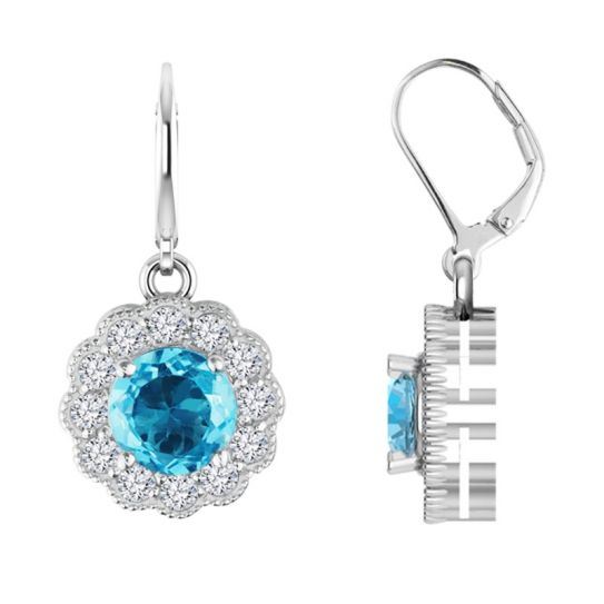 Drop earrings with Sky Blue and White Topaz