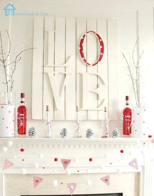 Valentine's red and white mantel bottles and vases