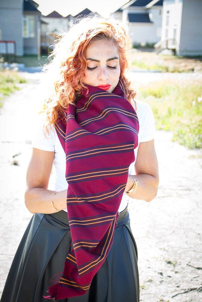 Tuck edges under your blanket scarf