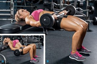 Hip thruster is a great glute exercise part of the fitness model workout