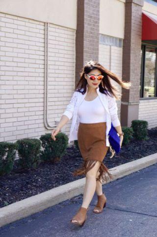 Fringe caramel skirt and caramel peep toe shoes with white top and blazer