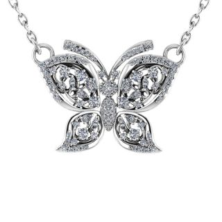 Silver butterfly necklace, wedding jewellery, sterling silver necklace