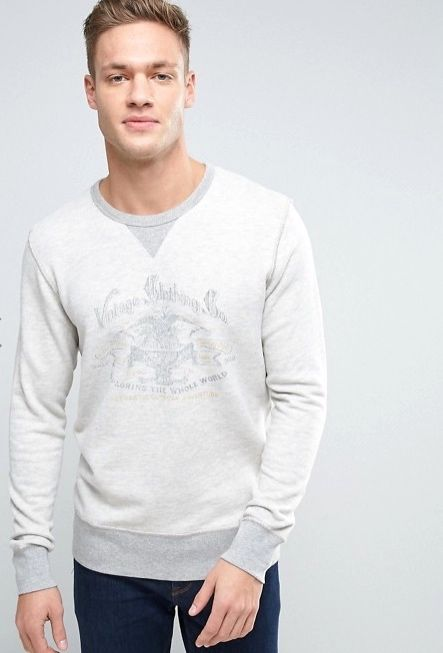 Washed look Jack and Jones vintage sweater close up